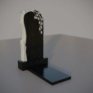 Памятник гранитный на могилу с резной березой