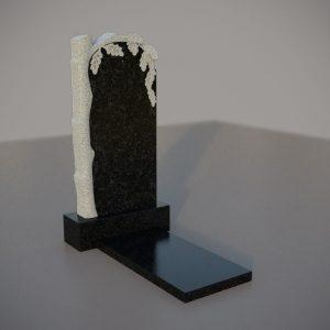 Памятник гранитный на могилу с резным дубом
