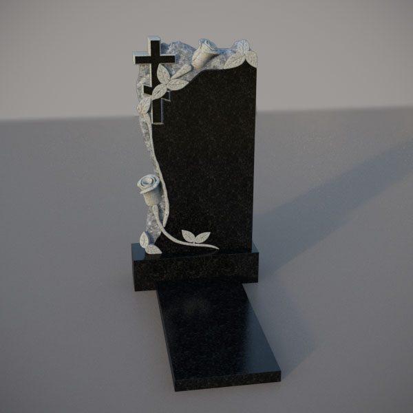 Памятник гранитный на могилу с резными розами и крестом