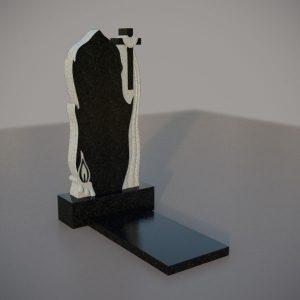 Памятник на могилу с резным крестом и свечей