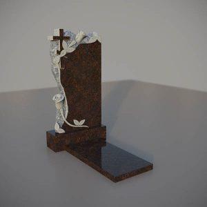 Памятник на могилу из дымовского гранита с резными розами и крестом