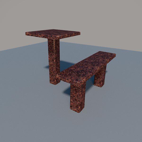 Стол и лавка из дымовского гранита SLD001