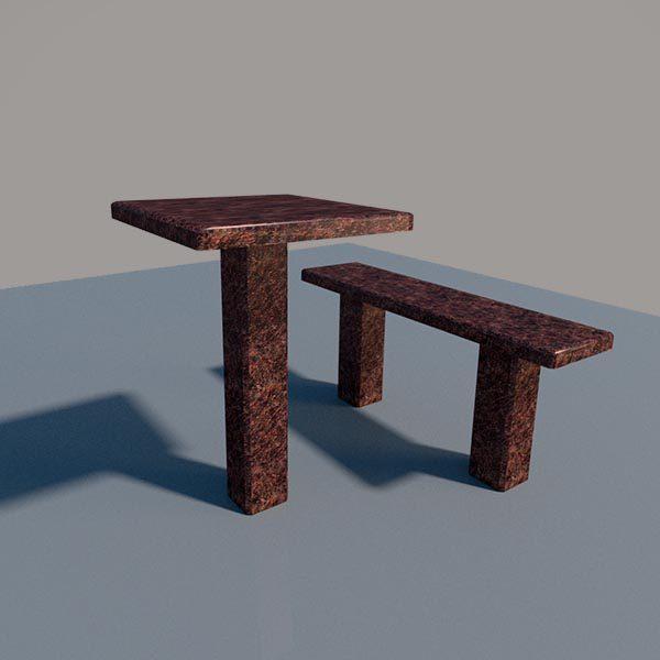 Стол и лавка из дымовского гранита