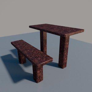 Стол и лавка из дымовского гранита SLD002
