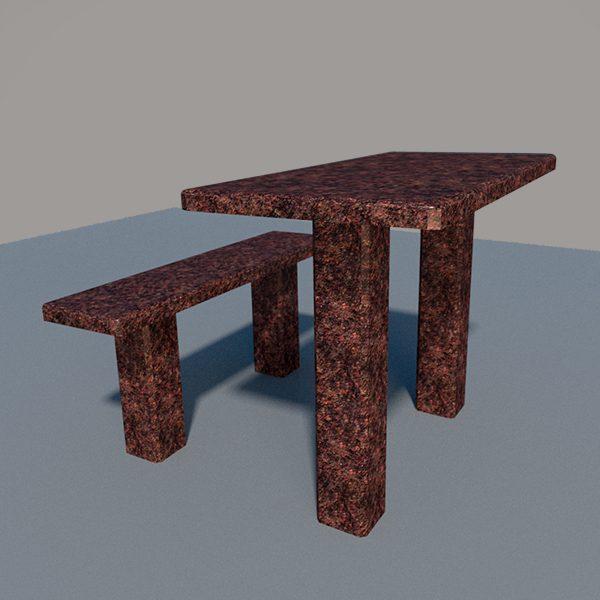 Стол и лавка из дымовского гранита SLD002_2