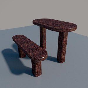 Стол и лавка из дымовского гранита SLD003