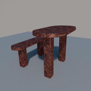 Стол и лавка из дымовского гранита SLD003_2