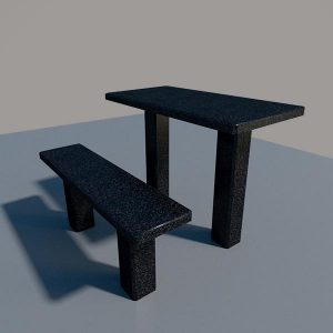 Стол и лавка из черного гранита SLG002