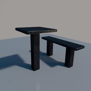 Стол и лавка из карельского гранита SLG001_2