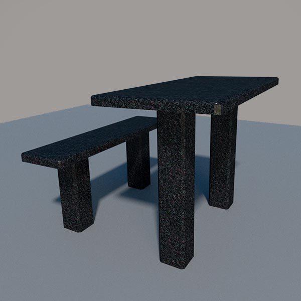 Стол и лавка из черного гранита SLG002_2