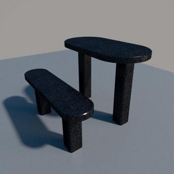 Стол и лавка из черного гранита SLG003