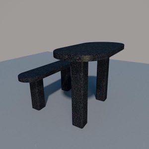 Стол и лавка из черного гранита SLG003_2