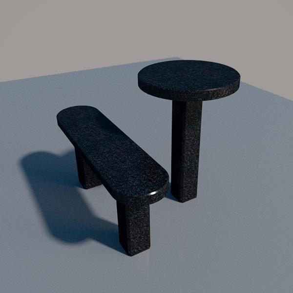 Стол и лавка из черного гранита SLG004