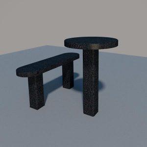 Стол и лавка из черного гранита SLG004_2