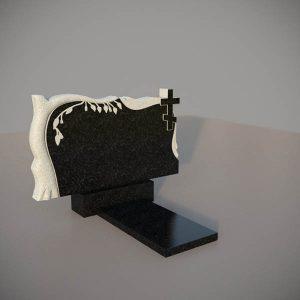 Памятник на могилу горизонтальный c резными крестом и березой GGN203-3