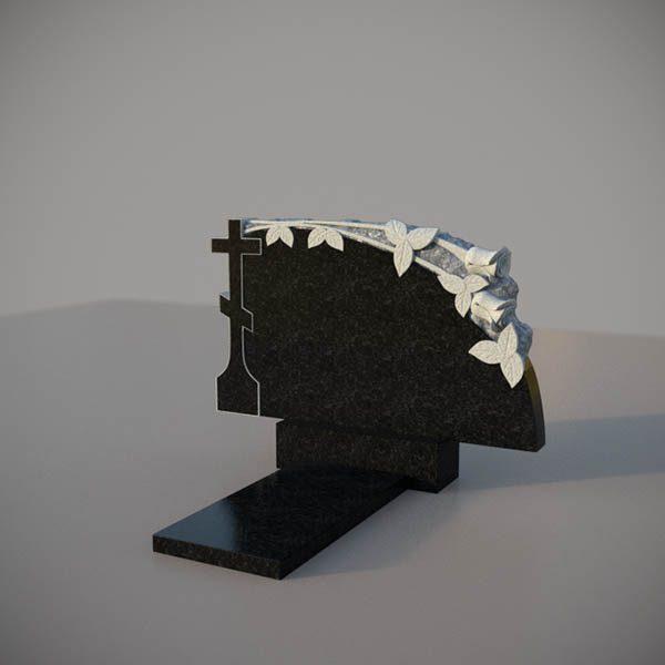 Памятник на могилу горизонтальный c резными крестом и розами GGN301