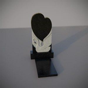 Памятник на могилу с резным лебедем и сердцем GVS001-2