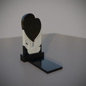 Памятник на могилу с резным лебедем и сердцем GVS001-3