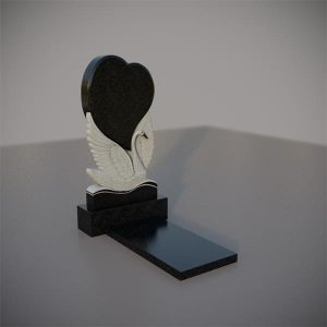 Памятник на могилу с резным лебедем и сердцем GVS002-3