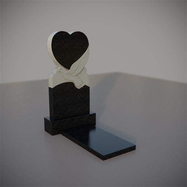 Памятник на могилу с резным лебедем и сердцем GVS003-3