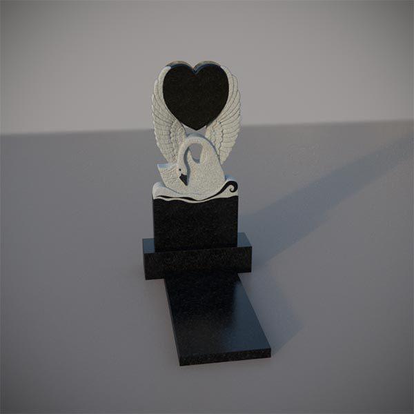 Памятник на могилу с резным лебедем и сердцем GVS004-2