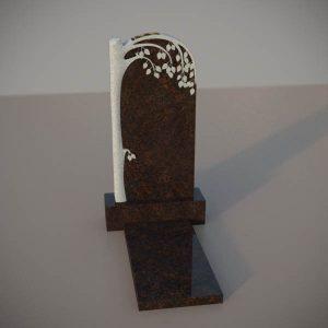 Памятник на могилу из дымовскго гранита с резной березой DVD001-2