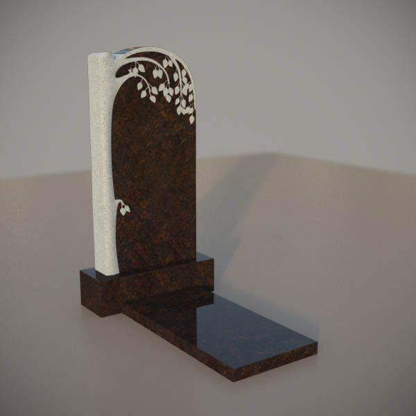 Памятник на могилу из дымовскго гранита с резной березой DVD001-3