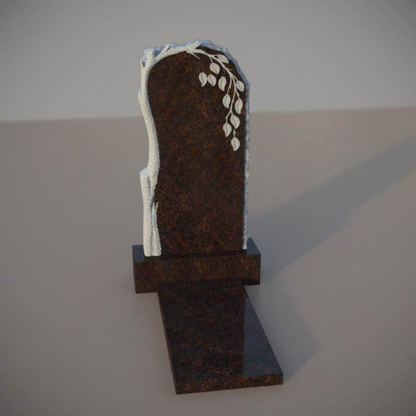 Памятник на могилу из дымовскго гранита с резной березой DVD002-2