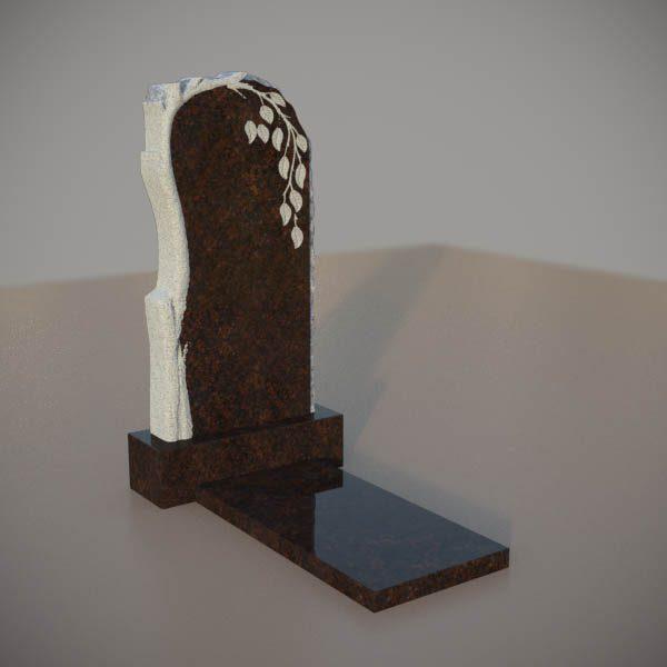 Памятник на могилу из дымовскго гранита с резной березой DVD002-3