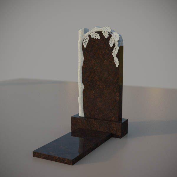 Памятник на могилу из дымовскго гранита с резным дубом DVD003