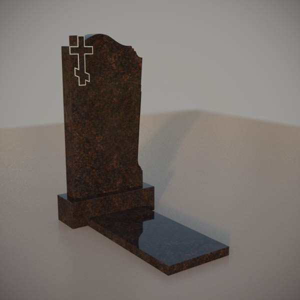 Памятник на могилу из дымовского гранита с резным крестом DVK001-3