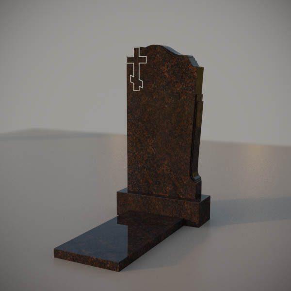 Памятник на могилу из дымовского гранита с резным крестом DVK001