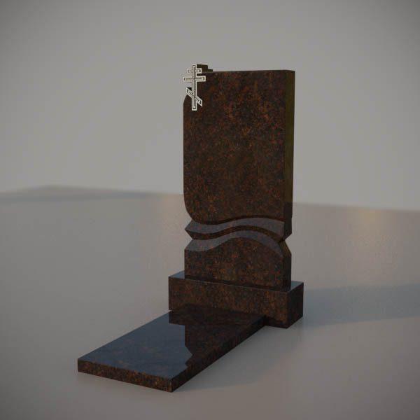 Памятник на могилу из дымовскго гранита с резным крестом DVK002