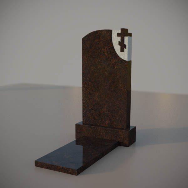 Памятник на могилу из дымовскго гранита с резным крестом DVK003