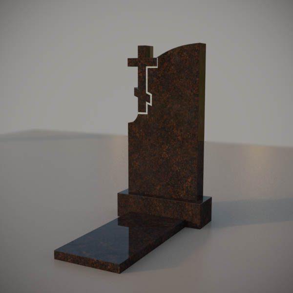 Памятник на могилу из дымовского гранита с резным крестом DVK004