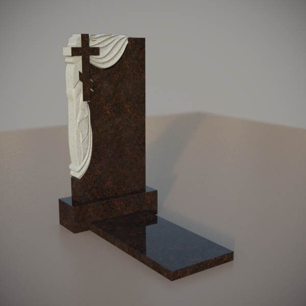 Памятник на могилу из дымовскго гранита с резным крестом и плащаницей DVK006-3