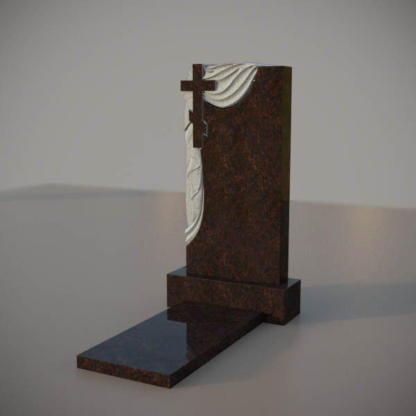 Памятник на могилу из дымовскго гранита с резным крестом и плащаницей DVK006