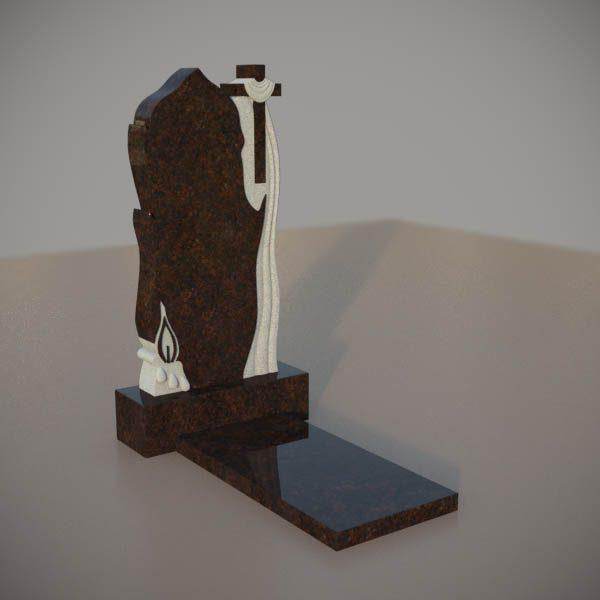 Памятник на могилу из дымовскго гранита с резным крестом и свечой DVK007-3