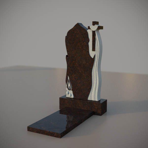Памятник на могилу из дымовскго гранита с резным крестом и свечой DVK007