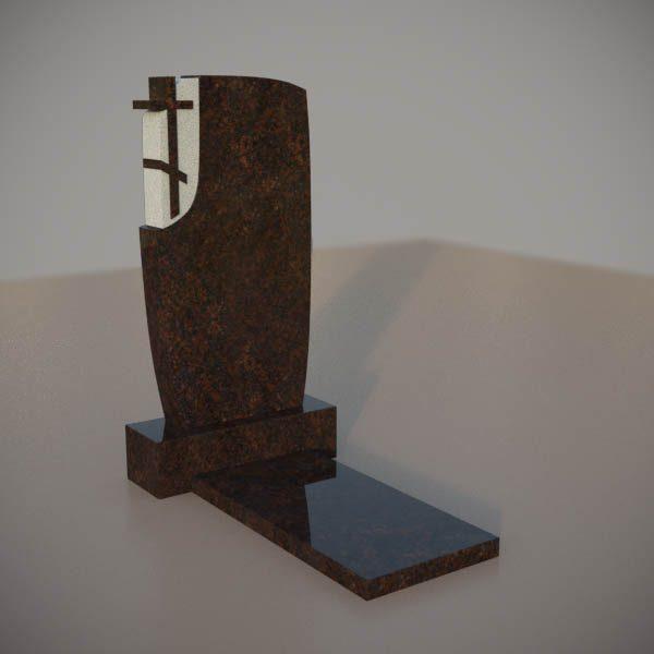 Памятник на могилу из дымовского гранита с резным крестом DVK008-2
