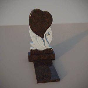 Памятник на могилу из дымовскго гранита с резным лебедем и сердцем DVS001-2