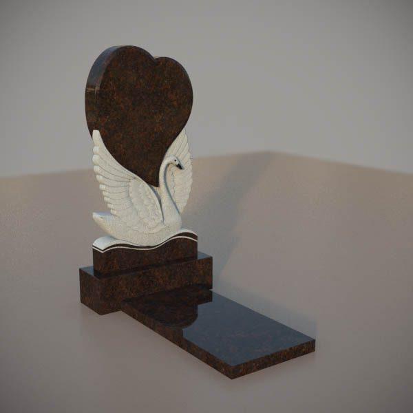 Памятник на могилу из дымовскго гранита с резным лебедем и сердцем DVS001-3