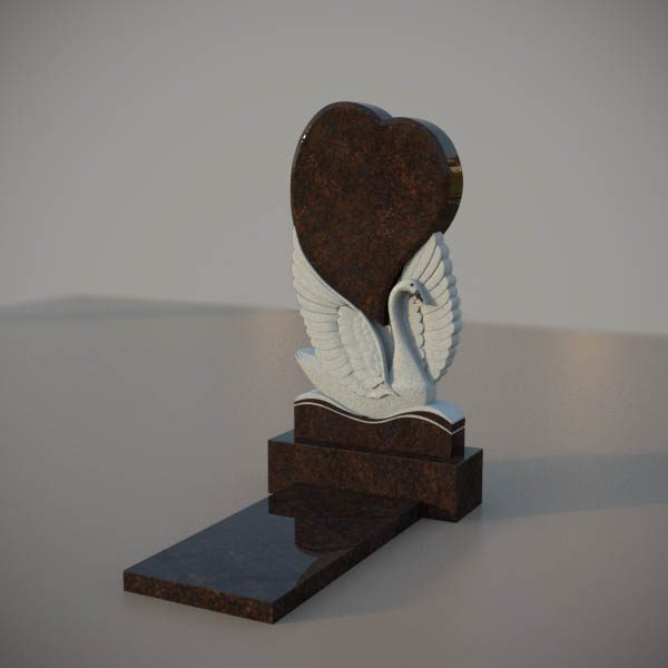 Памятник на могилу из дымовскго гранита с резным лебедем и сердцем DVS001