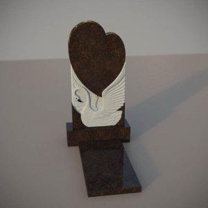 Памятник на могилу из дымовскго гранита с резным лебедем и сердцем DVS002-2