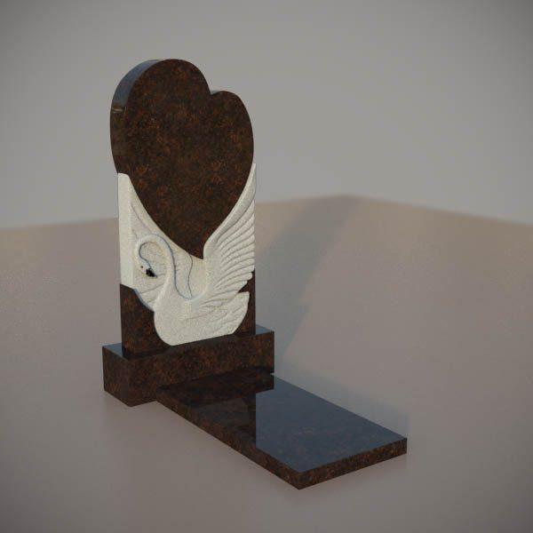 Памятник на могилу из дымовскго гранита с резным лебедем и сердцем DVS002-3