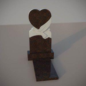 Памятник на могилу из дымовскго гранита с резным голубем и сердцем DVS003-2