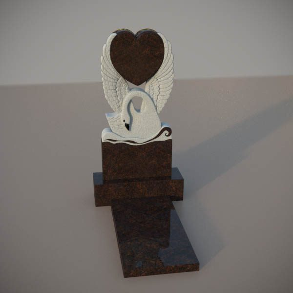 Памятник на могилу из дымовскго гранита с резным лебедем и сердцем DVS004-2