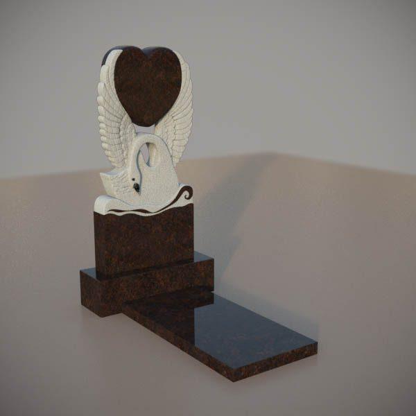 Памятник на могилу из дымовскго гранита с резным лебедем и сердцем DVS004-3