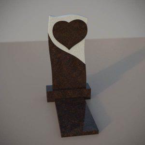 Памятник на могилу из дымовского гранита c резным сердцем DVS005-2
