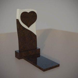 Памятник на могилу из дымовского гранита c резным сердцем DVS005-3